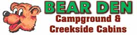 logo for Bear Den Family Campground and Creekside Cabins