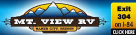 logo for Mt View RV on the Oregon Trail