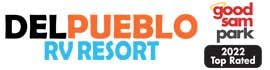 logo for Del Pueblo RV Park and Tennis Resort