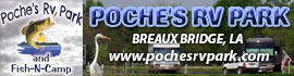 logo for Poche's RV Park and Fish-N-Camp