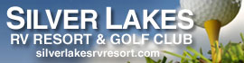 logo for Silver Lakes RV Resort & Golf Club