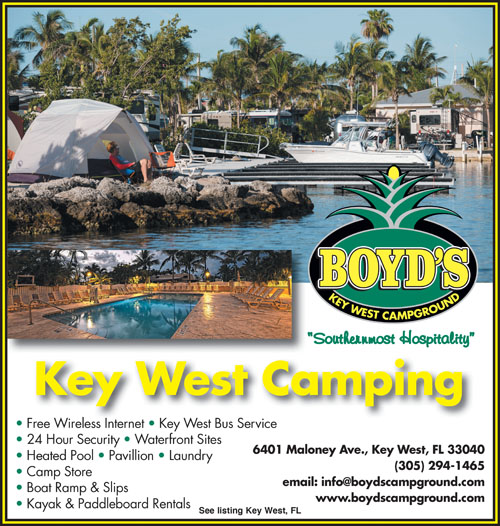 Tropical Waterfront Camping At The Southernmost Campground In The USA.  Excellent Boating Access To Both The Atlantic And The Gulf Of Mexico.
