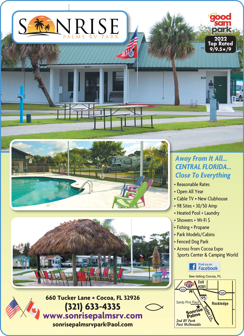 ON FLORIDAS SPACE COAST Sonrise Palms Is Near The New Cocoa Expo Sports Center With Easy Access To I 95 For Shopping Dining Beaches Kennedy Space