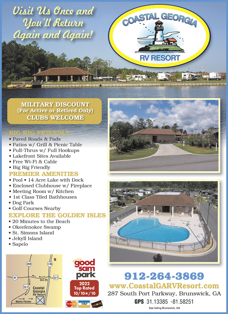 NEWEST RV RESORT NEAR S GA COAST Bring The Family Enjoy Our Amenities Minutes From Golf Beaches Historical Sites Have A Cookout At Enclosed Or