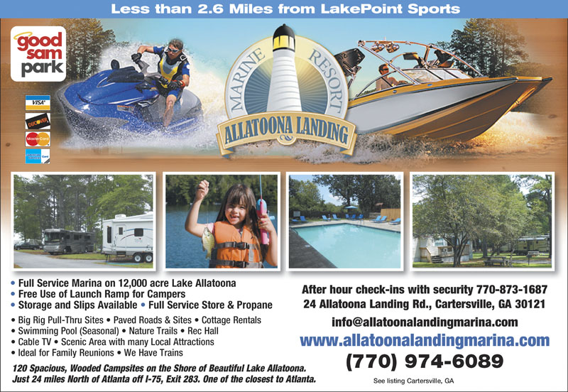 ALLATOONA LANDING MARINE RESORT A Lakeside Experience For The RVer Fish Relax Visit Area Attractions Located 3 Miles From LakePoint Sports Complex