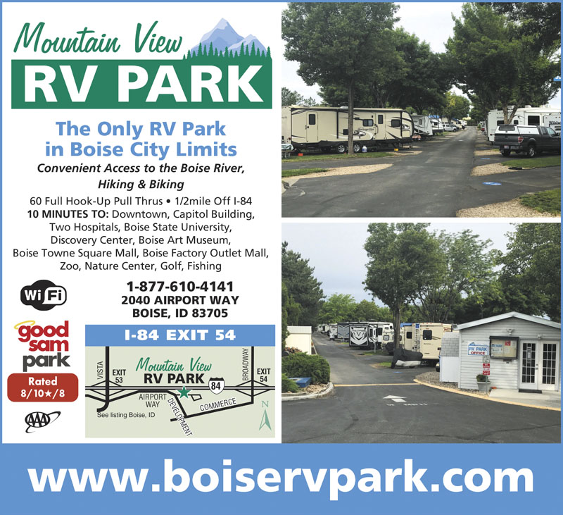 ONLY RV PARK IN BOISE CITY LIMITS Within 34 Miles Of Bronco Stadium 4 The State Capitol We Have 60 Pull Thru Service Sites W Both 30 50 Amp