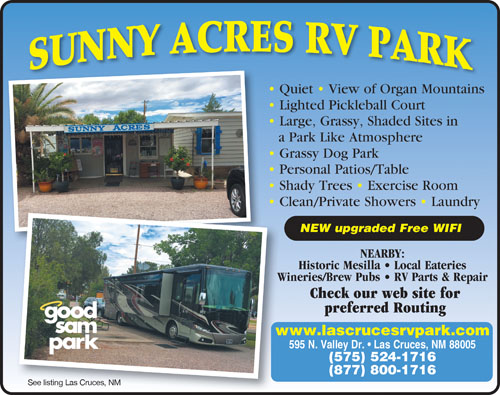 Sunny Acres RV Park Las Cruces NM View Website