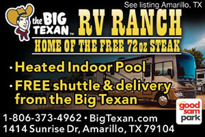 Big texan rv ranch amarillo campgrounds good sam club for Amarillo parks and recreation swimming pools