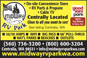 MIDWAY BETWEEN SEATTLE AND PORTLAND Enjoy 66 Big Rig Sites 30 50 Amp Wifi Cable On Site Convenience Store Nearby Outlets Antiquing