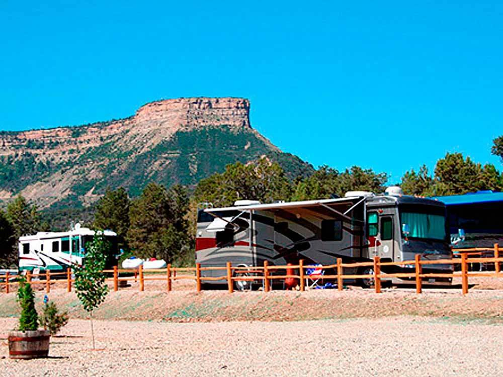 RVs with beautiful hill view at MESA VERDE RV RESORT