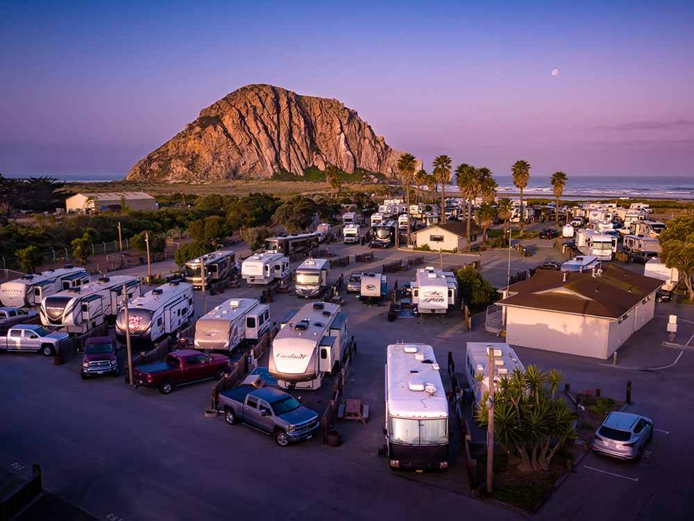 Aerial view at sunset of RV sites at MORRO DUNES RV PARK