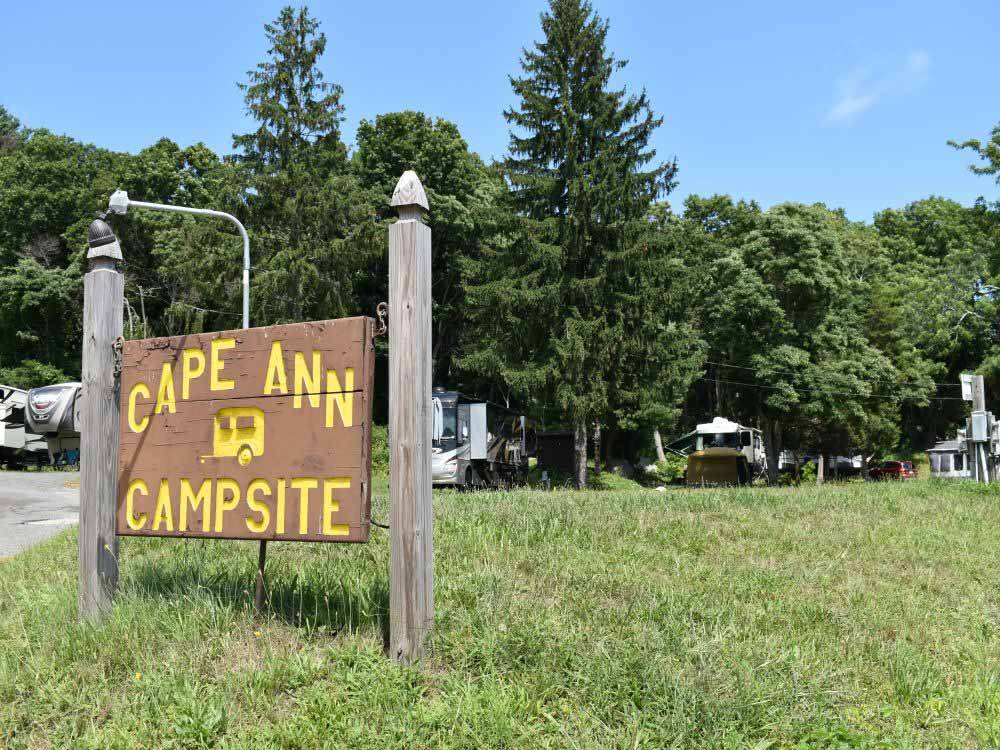 The front entrance sign at CAPE ANN CAMP SITE