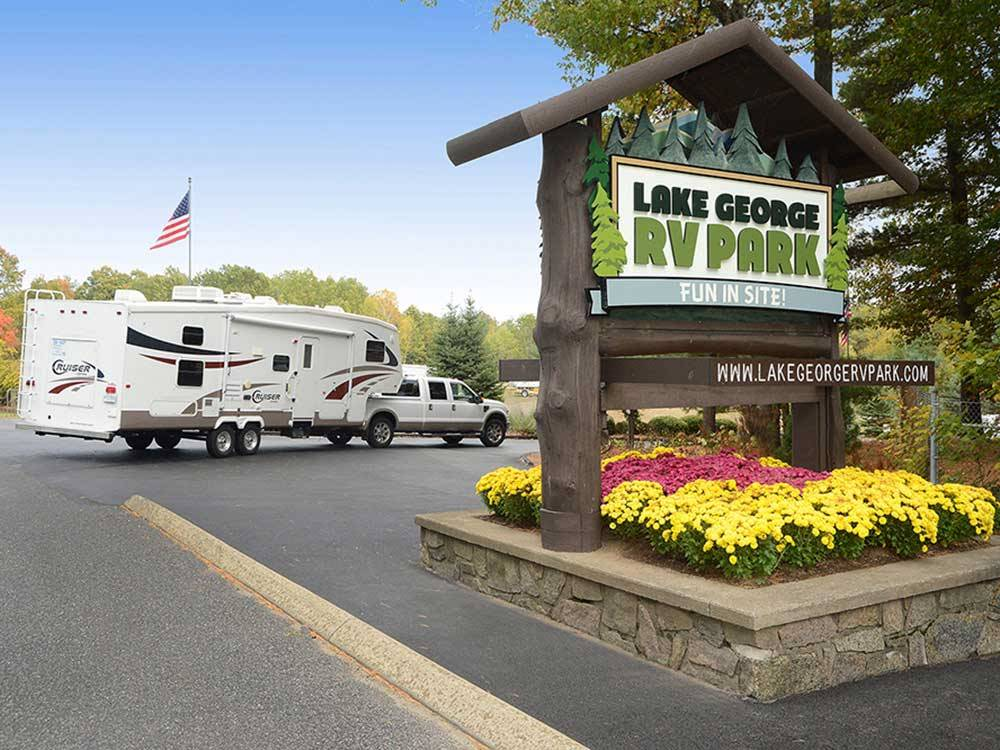 Sign at entrance to the park at LAKE GEORGE RV PARK
