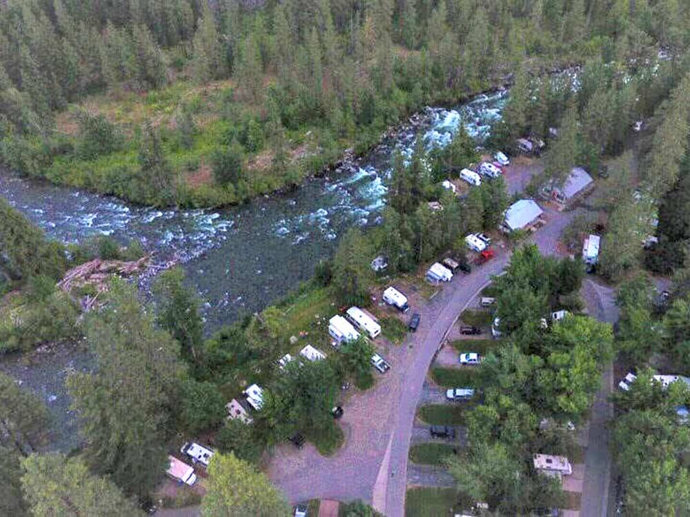 Aerial view over campground at ICICLE RIVER RV RESORT
