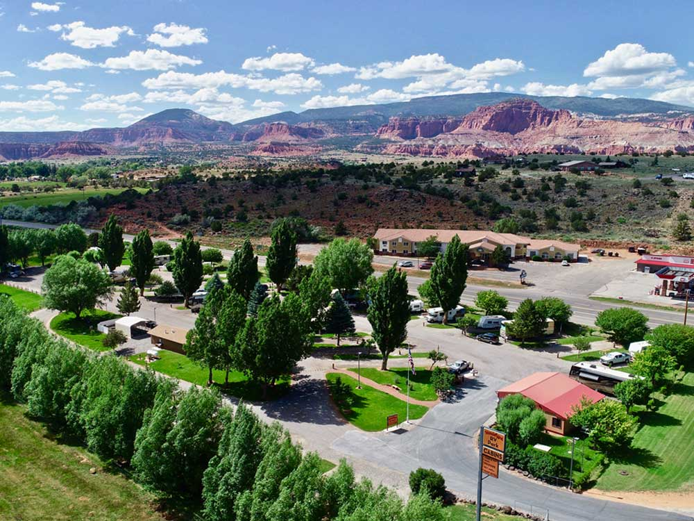 Aerial view of park with distant mountains at WONDERLAND RV PARK