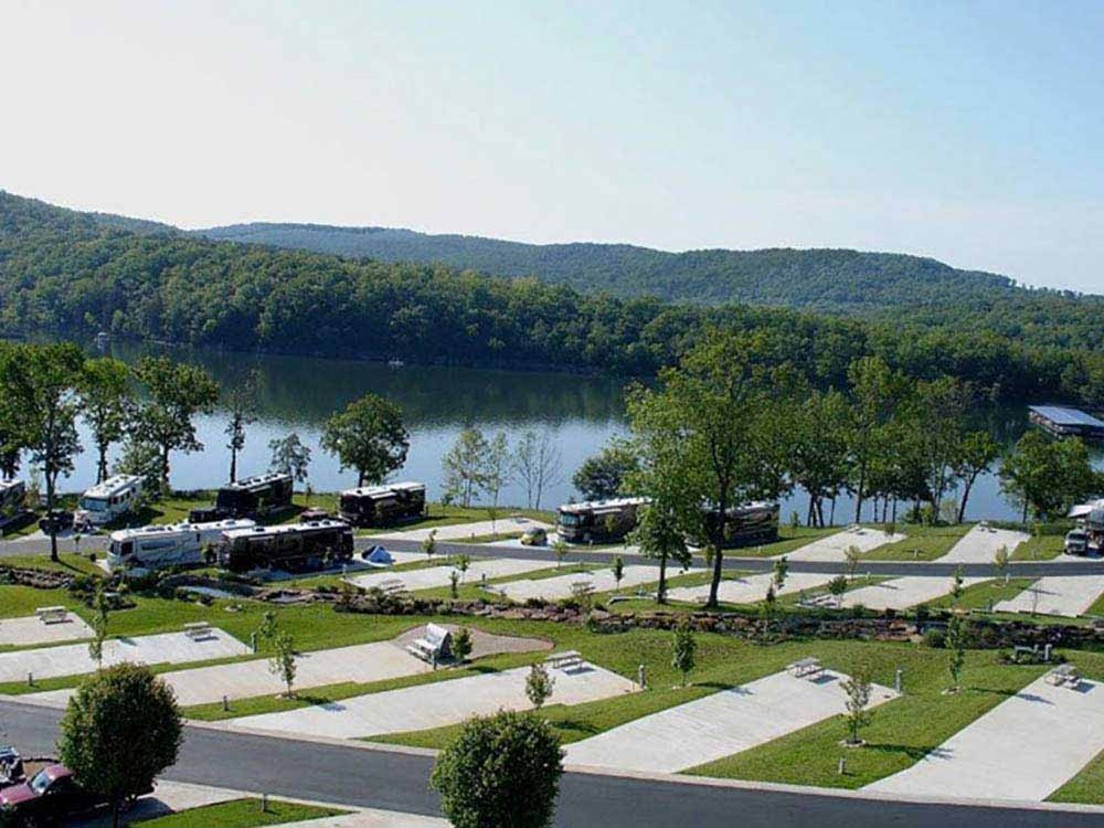 Aerial view over campground at OZARKS RV RESORT ON TABLE ROCK LAKE
