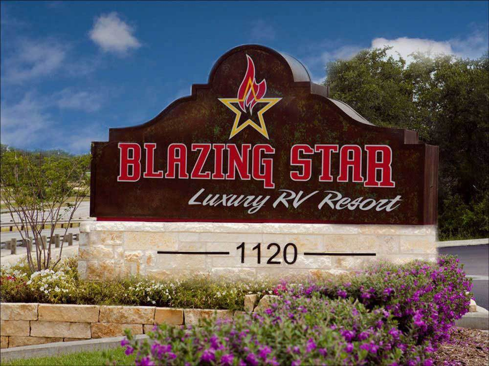 Sign at entrance to the park at BLAZING STAR LUXURY RV RESORT