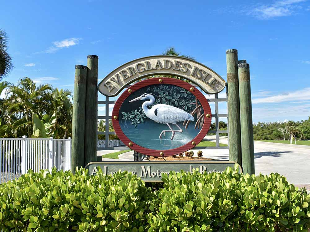 The front entrance sign at EVERGLADES ISLE MOTORCOACH RESORT  MARINA