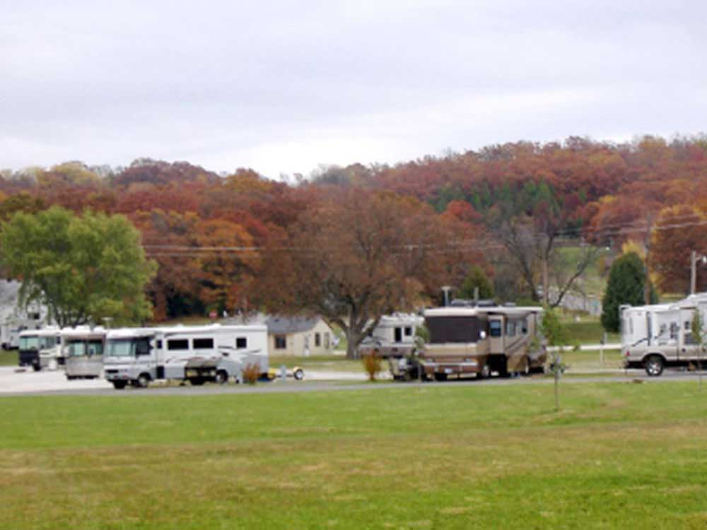RVs parked at campground at SOUTHGATE RV PARK OF FAYETTEVILLE