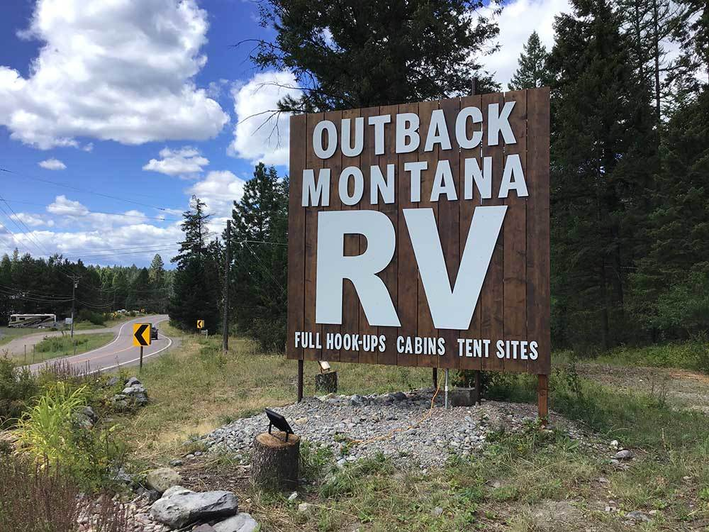 Sign leading into campground at OUTBACK MONTANA RV PARK  CAMPGROUND