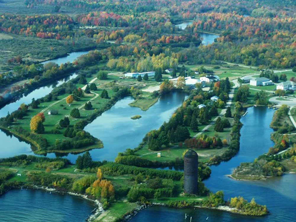 Aerial view over campground at UPPER PENINSULA GOLF  LAKE RESORT