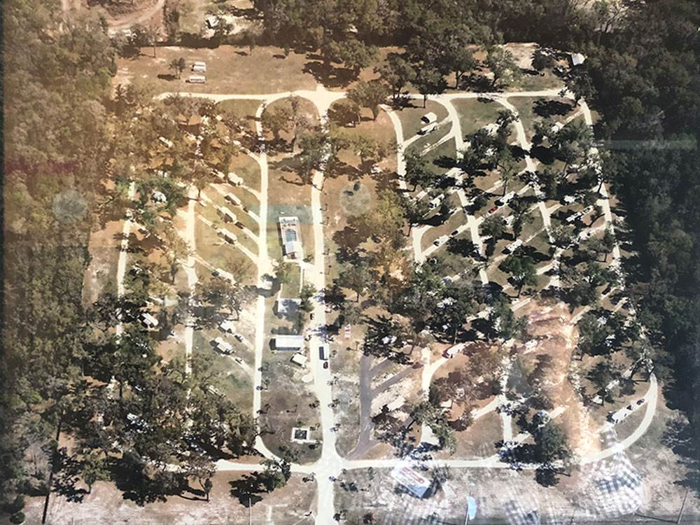 Aerial view over campground at LUCKY CHARM RV PARK