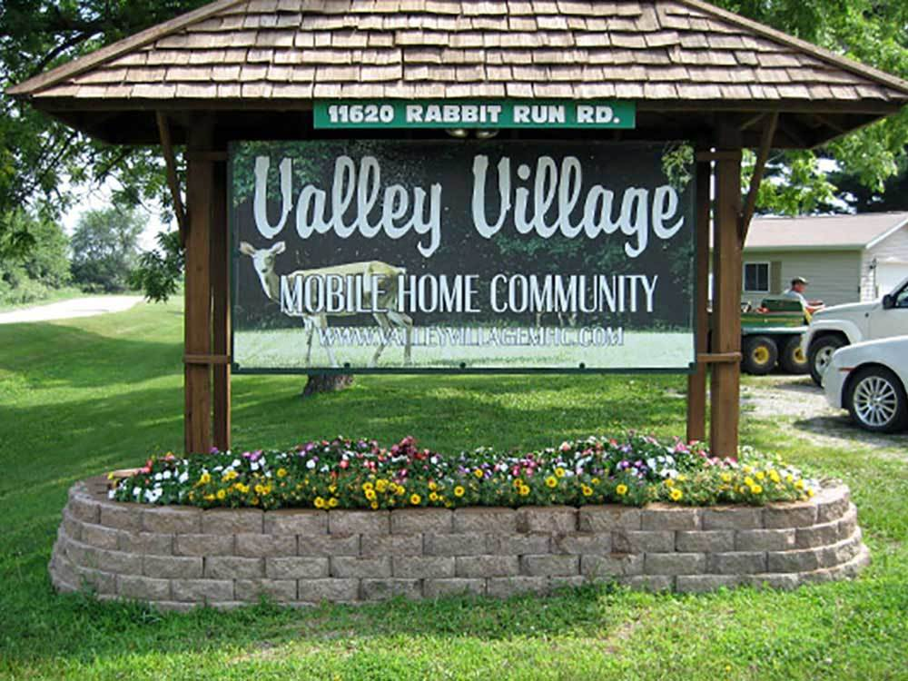 Sign at entrance to the park at VALLEY VILLAGE MH COMMUNITY