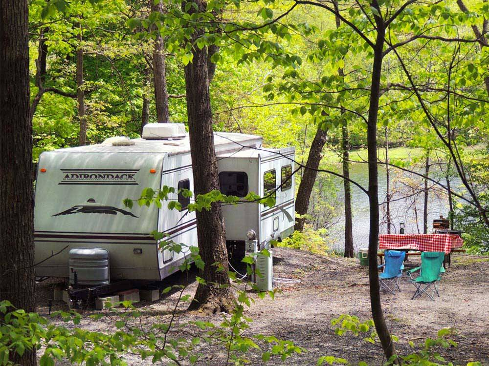 Trailer camping at campsite at SCOTRUN RV RESORT