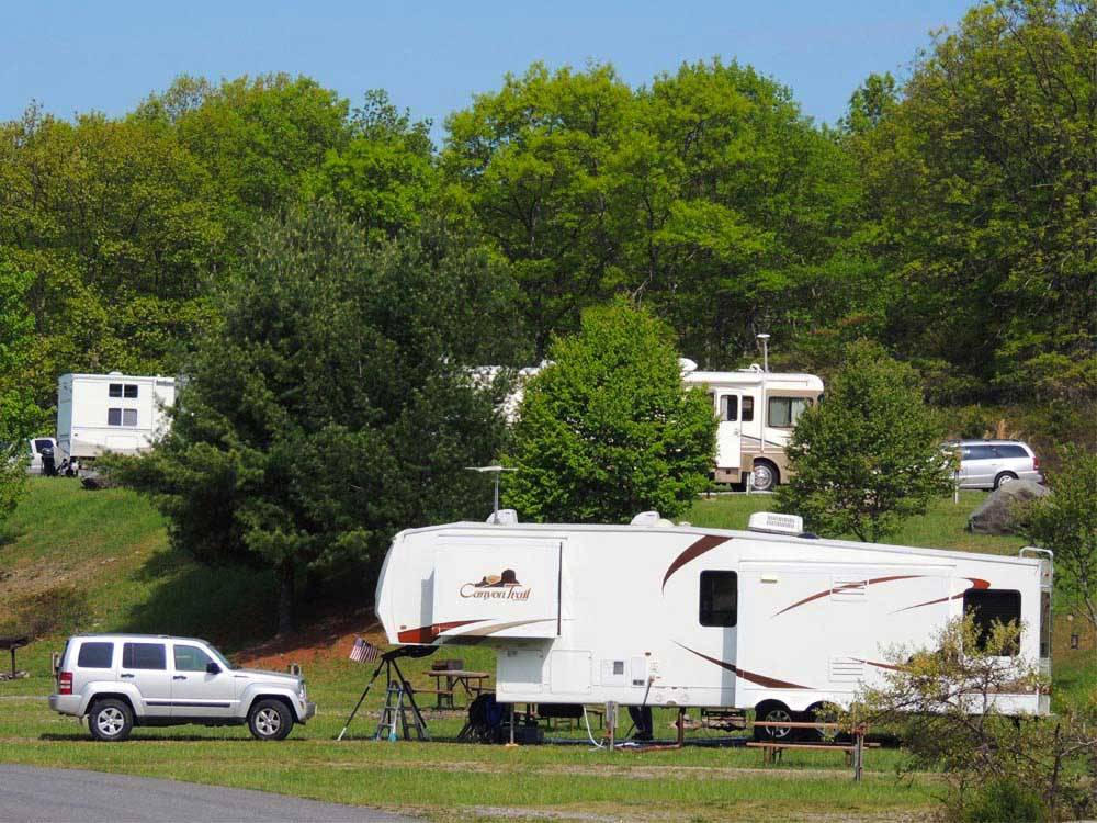 Trailers and RVs camping at TIMOTHY LAKE SOUTH RV PARK