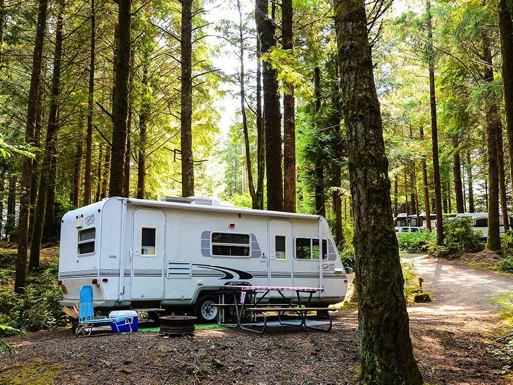 Trailers camping at SOUTH JETTY RV  CAMPING RESORT