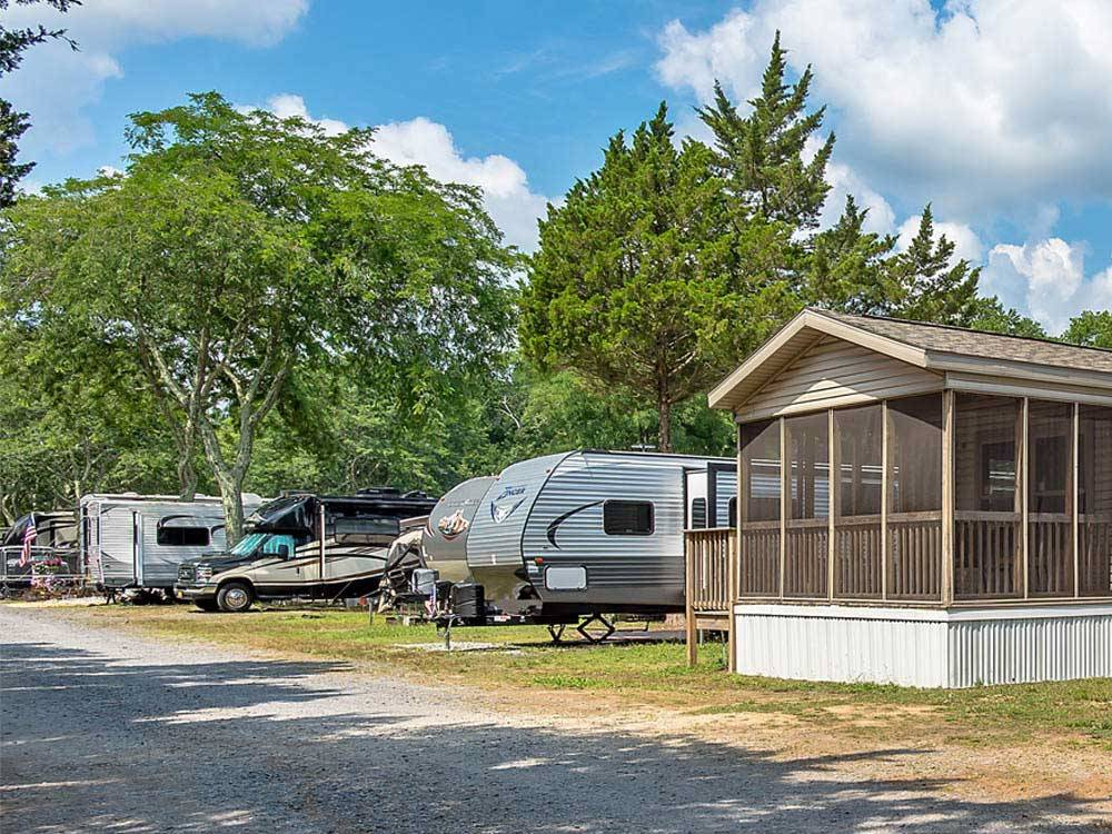 Cabin trailers and RVs camping at CHESTNUT LAKE RV CAMPGROUND