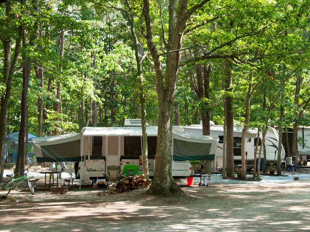 Trailers with picnic tables camping at SEA PINES RV RESORT  CAMPGROUND