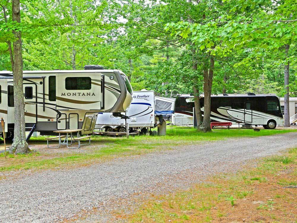 Trailers and RVs camping at MOODY BEACH RV CAMPGROUND