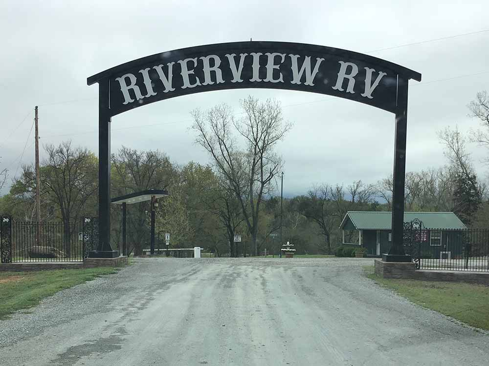 The front entrance sign over the main road at RIVER VIEW RV  RECREATIONAL PARK