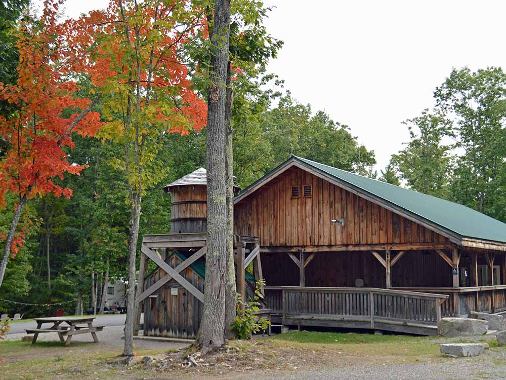 A rustic building with Fall foliage at BENTLEYS SALOON MOTEL  CAMPGROUND