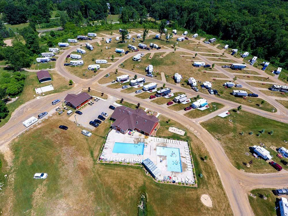 Aerial view over campground at CAMP TURKEYVILLE RV RESORT