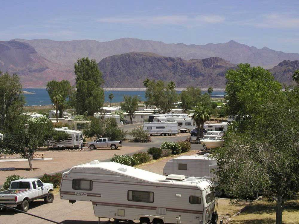 View of lake at campgrounds at LAKE MEAD RV VILLAGE AT BOULDER BEACH