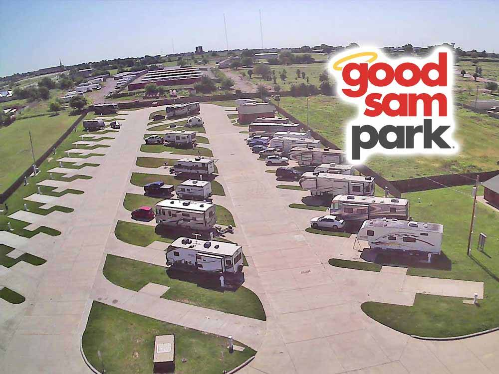 Aerial view over campground at BUFFALO BOBS RV PARK