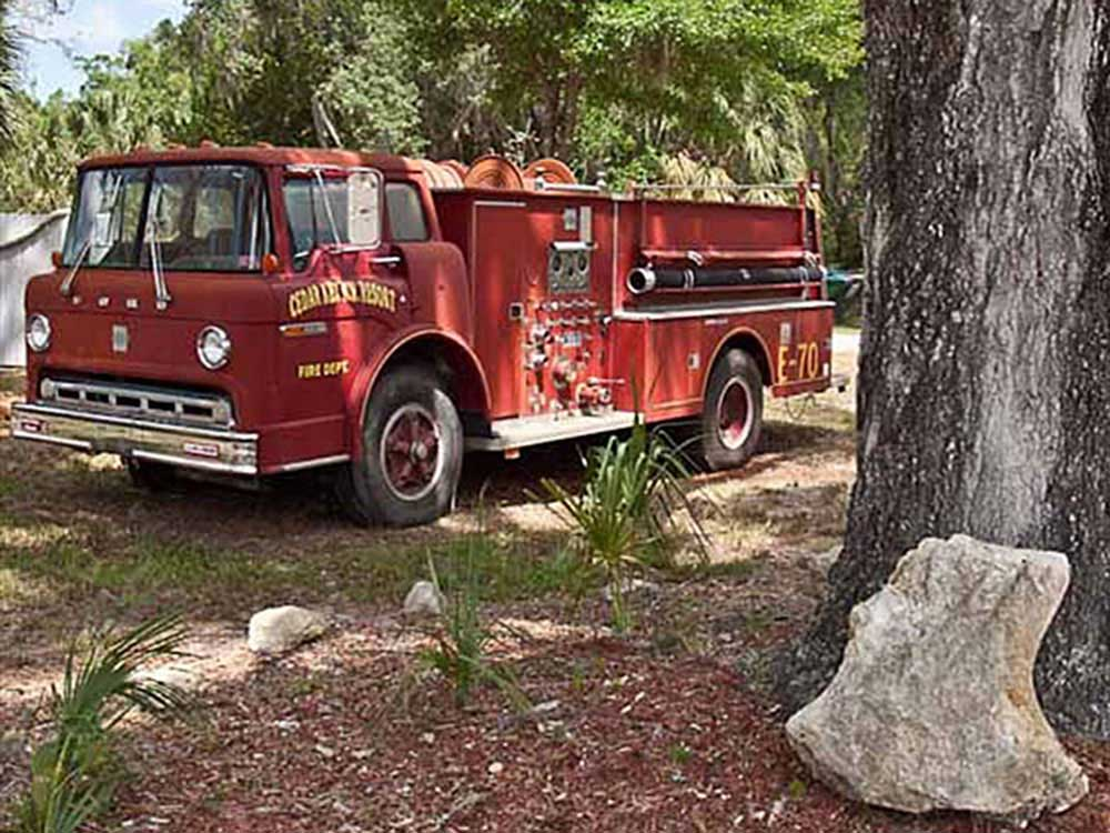 Old firetruck at CEDAR KEY RV RESORT