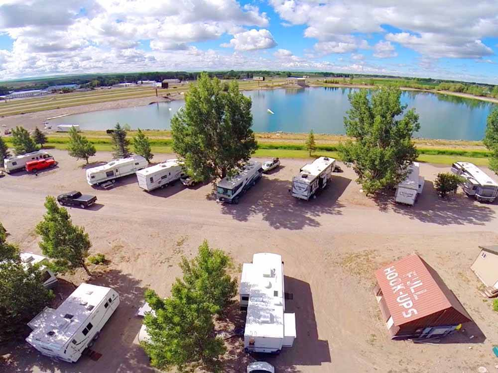 An aerial view of the RV sites at WAKESIDE LAKE RV PARK