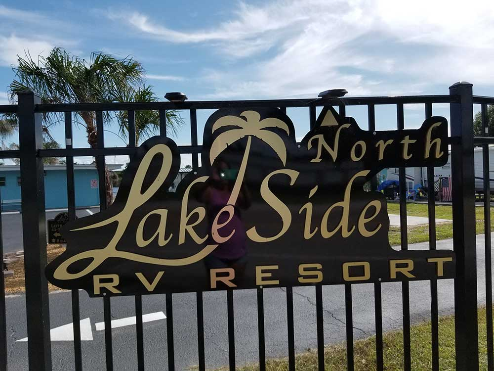 Sign on gated entrance at LAKESIDE NORTH RV RESORT