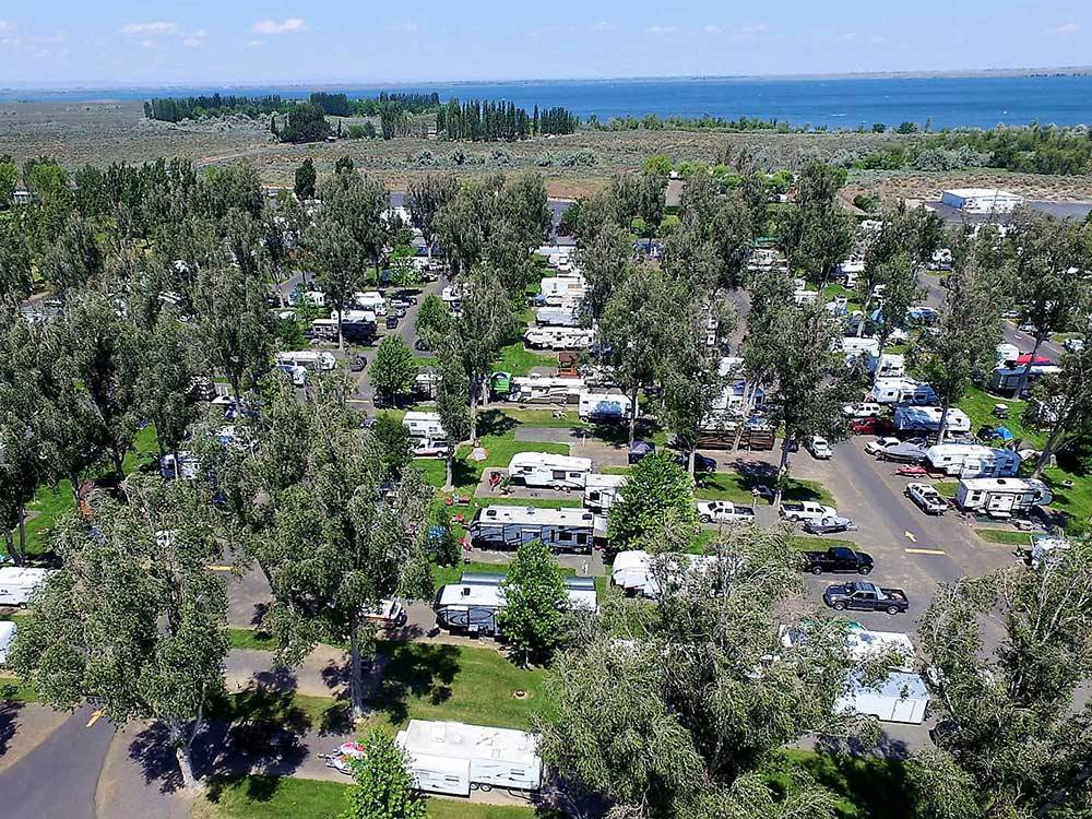Aerial view over campground at OSULLIVAN SPORTSMAN RESORT CAMPING RESORT
