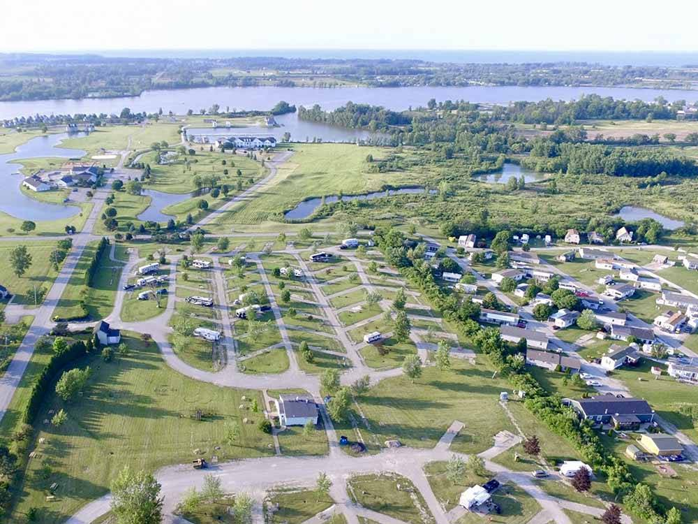 An aerial view of the campsites at THE RESORT AT ERIE LANDING