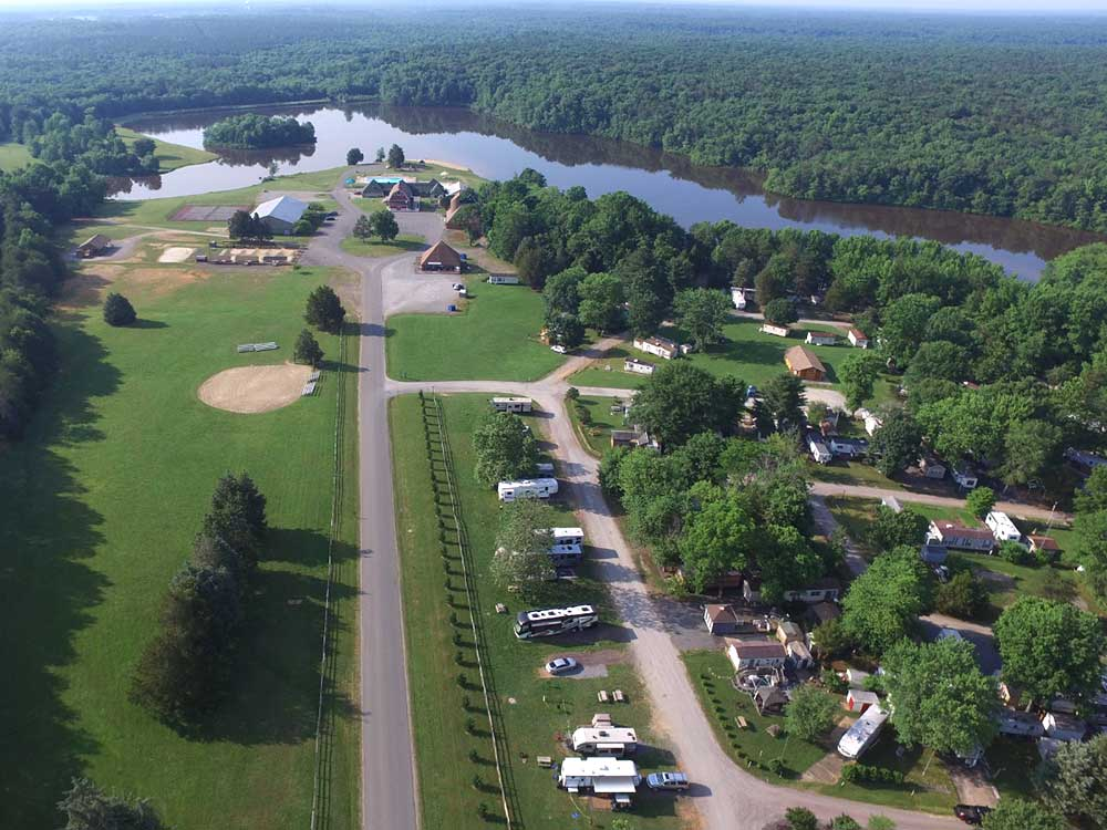 Aerial view over campground at WILDERNESS PRESIDENTIAL RESORT