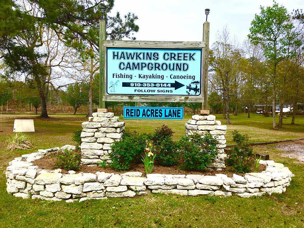 Sign leading into campground at HAWKINS CREEK CAMPGROUND