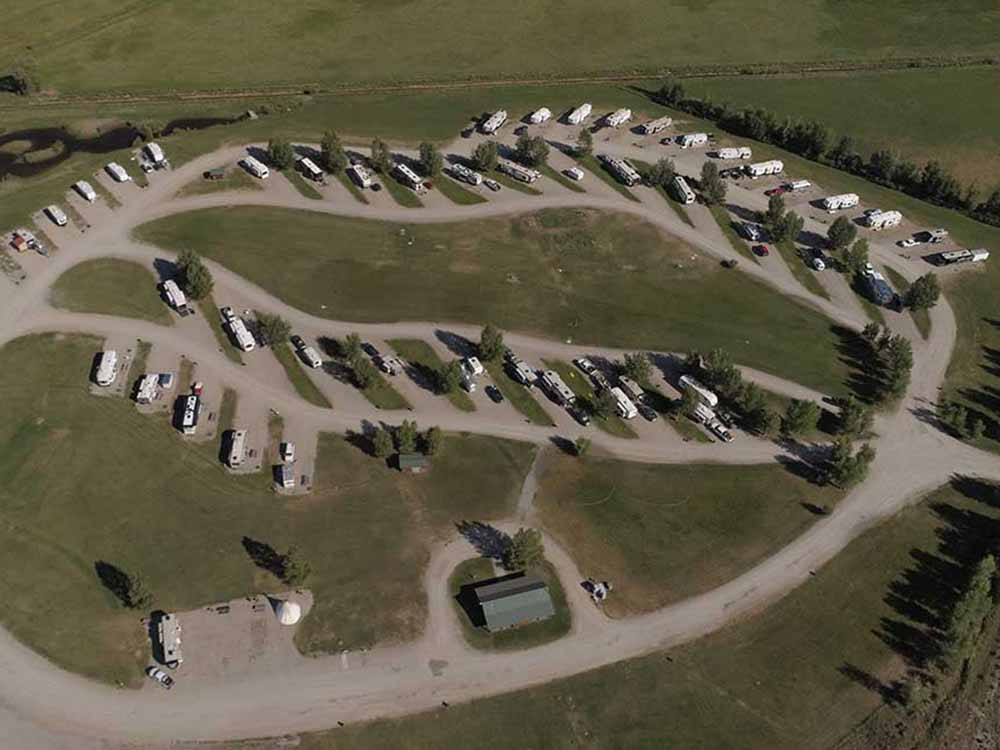 Aerial view over campground at HIGHLINE TRAIL RV PARK