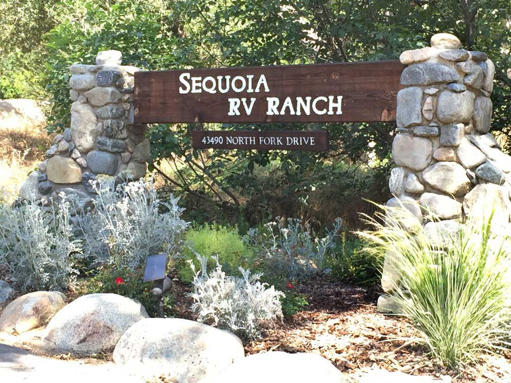 Sign at entrance to the park at SEQUOIA RV RANCH