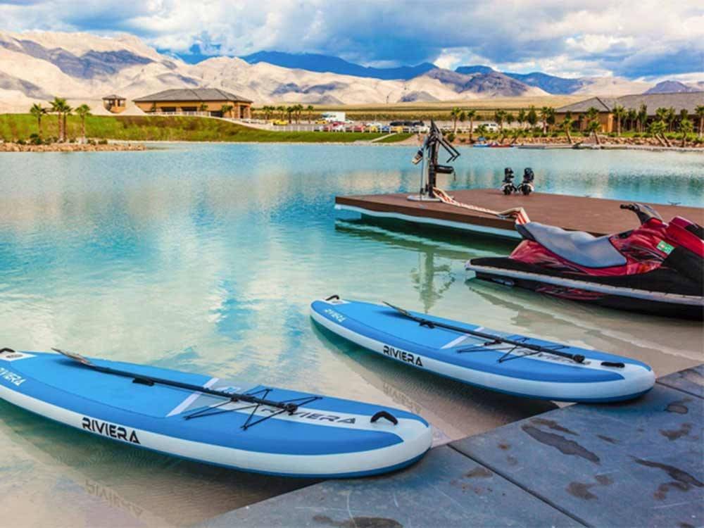 Kayaks and jet ski docked at PAHRUMP NEVADA