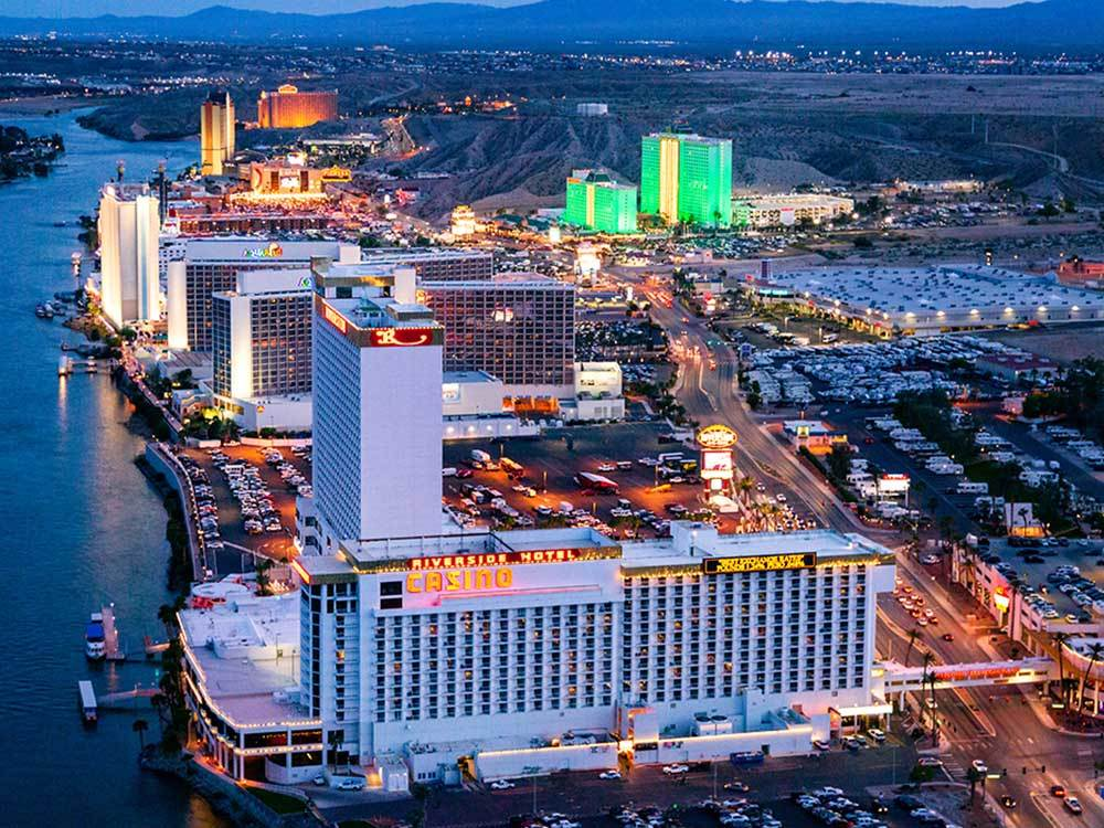 An aerial view of the casinos along the river at dusk at LAS VEGAS CONVENTION AND VISITORS AUTHORITY