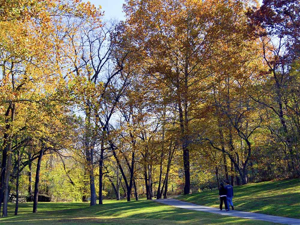 A couple walking on a path through some trees at BLOWING SPRINGS RV PARK